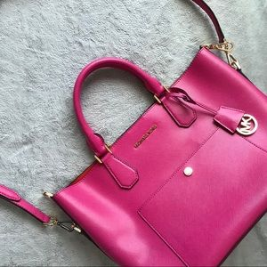 Michael Kors Greenwich Saffiano Leather Bag Pink